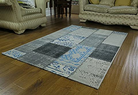 ASPECT Isfahan Distressed/Vintage Patchwork Rug, Polypropylene, Blue, 160 x 230