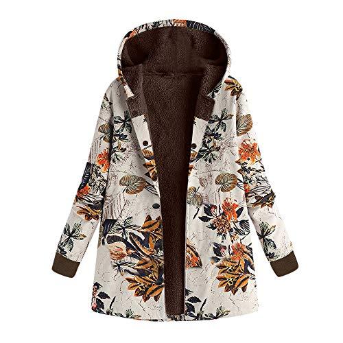 Rosennie Damen Winter Jacke Winter Mantel Retro Mantel Steppmantel Frauen Langarm Vintage Fleece Mäntel Mode Blumendruck Winterjacke Steppjacke Frau Plus Size Outwear Coat(Orange03,) Cropped Damen Trench Coat