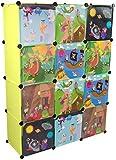 KEKSKRONE - Kinder Kleiderschrank mit Bunten Abenteuer Motiven - Grün 12 Module - DIY Steckregal Inklusive 2 Kleiderstangen
