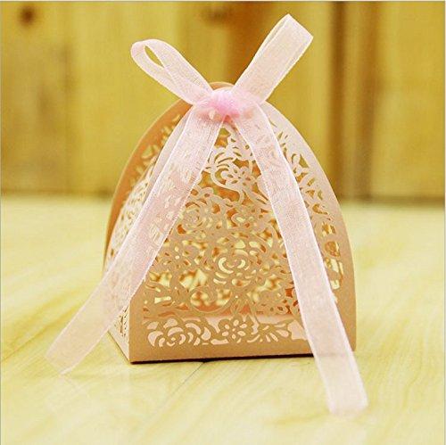 Monbedos Lederpolster Candy Box mit Spitzenband Persönlichkeit Geschenk Papier Box Keks Kiste Deko behandelt Boxen für Kinder Geburtstag Baby Dusche Gäste Hochzeit Party Supplies Rose
