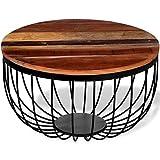 tidyard Tavolo da Giardino, Tavolini da caffè in Legno Massello di Recuperato per Interno ed Esterno, Stile Rustico, 60 x 35 cm