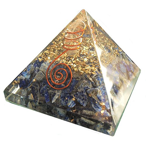 Orgon-Generator Lapislazuli Pyramide, Orgonit aus Edelsteinen und Metallen, wandelt negative energie in positive energie - 70mm