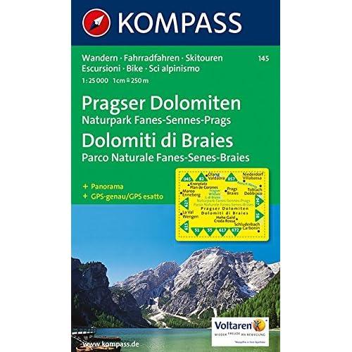 Carta Escursionistica N. 145. Dolomiti Di Braies-Pragser Dolomiten 1:25.000. Adatto A Gps. Digital Map. Dvd-Rom: Wandelkaart 1:25 000