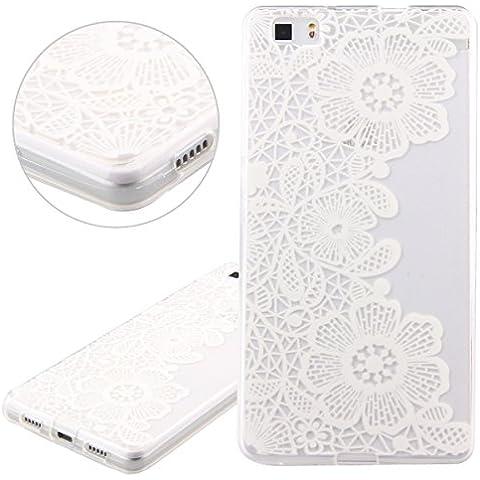 Funda para Huawei P8 Lite, Case Cover para Huawei P8 Lite, ISAKEN Transparente Ultra Slim Carcasa de Silicona TPU con Blanco Diseño Resistente a Arañazos Trasera Bumper Protección Case Cover Funda Cascara para Huawei P8 Lite (Flor