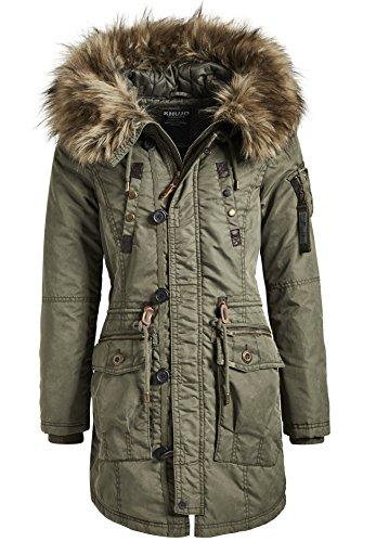 Khujo Damen Mantel Wintermantel Winterparka YM-Halle (vegan hergestellt) Olive Gr. L (Mantel Down-winter Jacke Kapuzen)