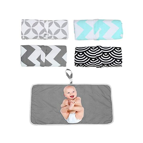 Knowooh Baby changing mat Foldable changing mat Soft reversible mat for changing tables with removable terry cloth cover, suitable for washing machines, white Knowooh The changing pad is made of high quality cotton and TPU film, which does not cause skin allergies. This portable and lightweight changing table pillow can be folded into a compact size and stored in the free storage bag. With full body protection and a pleasant diaper change, your baby will feel comfortable on this large changing tablecloth. 2