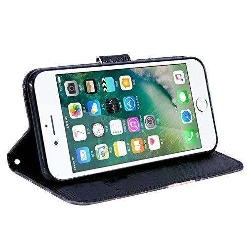 WE LOVE CASE Coque iPhone 7, Étui en Cuir a Rabat de Protection 3D Housse Étui iPhone 7 Portefeuille, Coque avec Rabat Personnalise Girly Fonction Support Stand Fente Carte et Magnétique Fermeture Sti Fleur
