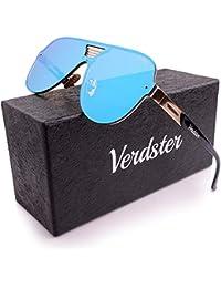 Verdster Gafas De Sol De Aviador TourDePro Para Niñas y Niños – Montura Cómoda con Protección UV – Incluye un estuche, funda y un pañuelo (Niños/pequeño, Azul/Oro)