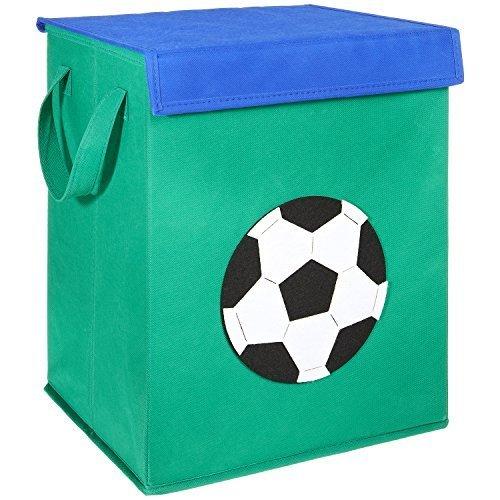 FABELBUNT® faltbare große Spielzeugkiste mit bunten Motiven und Deckel (37x 30x 26cm)