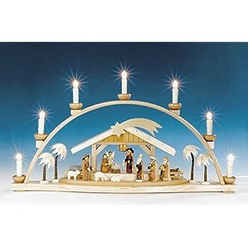 Amazon.de: Schwibbogen natur Christi Geburt, Krippen-Motiv ...