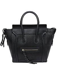 QI Wang Leather Wings Handbags For Women Serpentine Top-Handle Bags Cowhide Large Capacity Shoulder Satchels