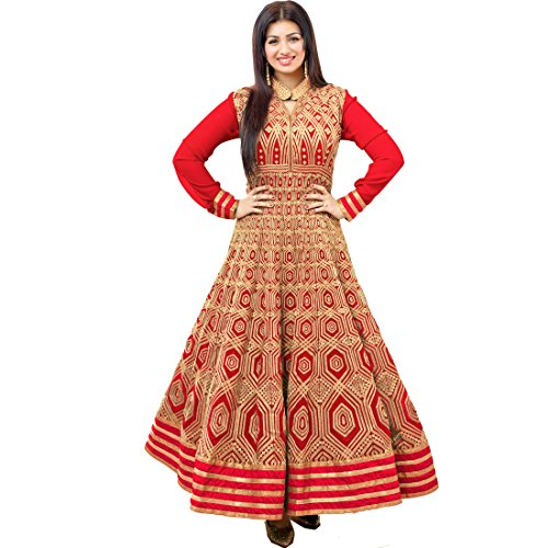 Vasu Saree Stylish Ayesha Takia Red Color Embroidered Suit In Georgette