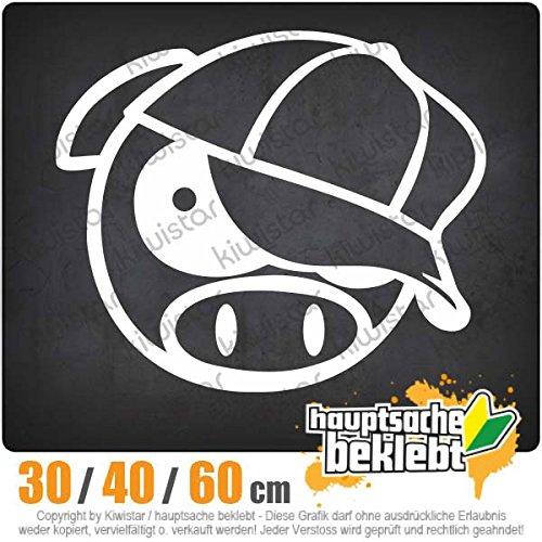 schwein-mit-bascap-in-3-Gren-erhltlich-Heckscheibenaufkleber-Carsticker-Decal