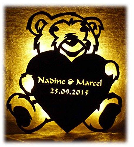 """Schlummerlicht24 Led Bild Nacht-Licht Lampe\""""Love Teddy\"""", personalisierte individuelle Geschenk-e mit Name-n für Schlafzimmer Wohnzimmer Kinder-Zimmer Mädchen Junge-n Frau-en Männer"""