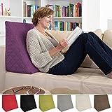 sabeatex Rückenkissen, Keilkissen für Couch und Sofa, Lesekissen für Bequemes Sitzen. 5 Unifarben für Trendiges Wohndesign. Louge-oder Palettenkissen Größe 60 cm x 50 cm x 30 cm (lila)