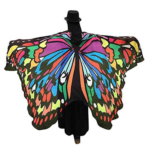 WOZOW Damen Schmetterling Flügel Kostüm Nymphe Pixie Faschingkostüme Umhang Schals Poncho Kostümzubehör Zubehör (Mehrfarbig)