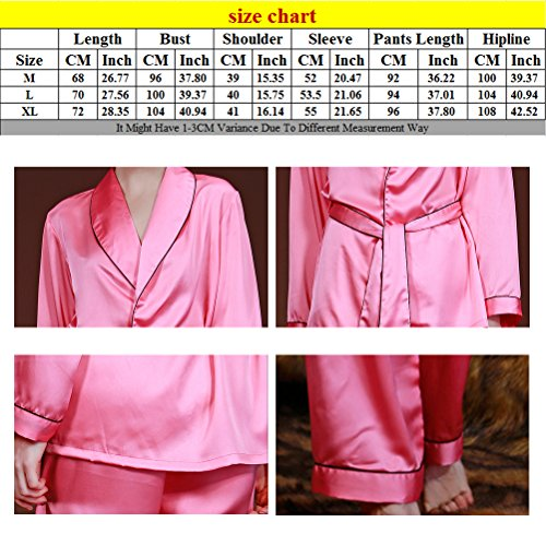 Zhhlinyuan Womens Satin Silk Lace Long Sleeve Nightwear Sleepwear Pajama Set K02 Watermelon Red