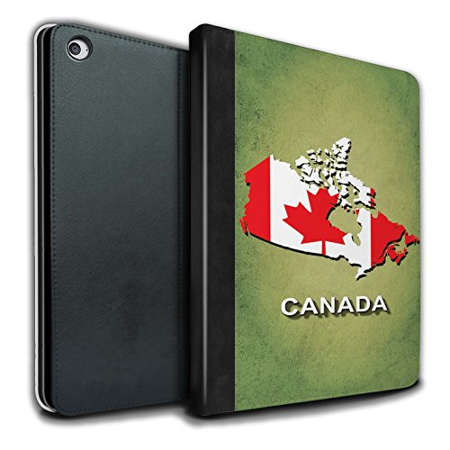 Stuff4® PU-Leder Hülle/Case/Brieftasche für Apple iPad Air 2 Tablet/Kanada/Kanadischen Muster/Flagge Land Kollektion (Ipad Air 2 Kanada)