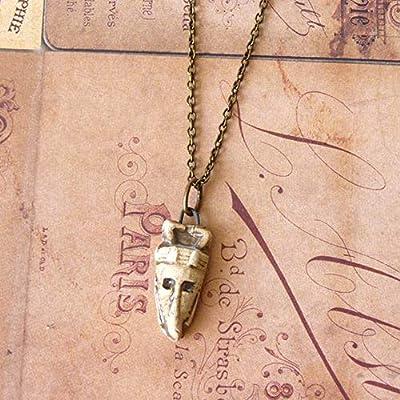 Collier Homme, Pendentif Tribal, Amulette, Talisman, Porte Bonheur, Totem Amérindien, Masque Africain, Collier Ethnique, Cadeau Homme