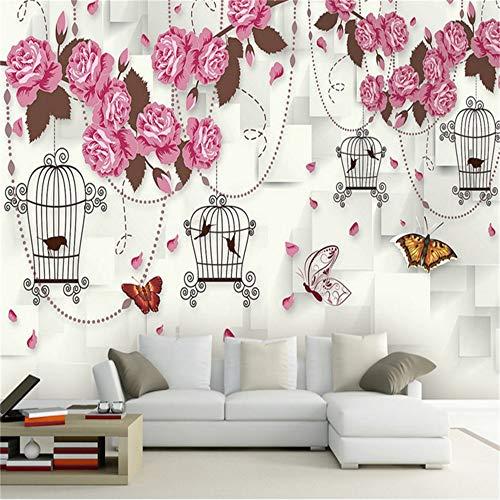 Sucsaistat Rosa Und Weiße Tapete Free Desktop Wallpaper Moderne Blume Tapete Für Wohnmöbel Design Für Wohnzimmer Room Decor, 300 * 210Cm