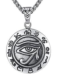Aoiy - Collar con colgante de hombre de acero inoxidable, ojo del horus , egipto antiguo, cadena de 61cm, aap118