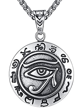 Aoiy Herren-Halskette mit Anhänger, Auge des Horus, antikes Ägypten, Edelstahl, 61cm Kette, aap118