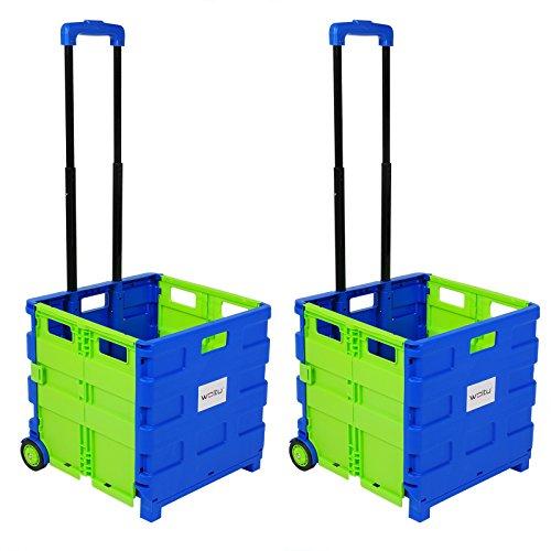WOLTU EW4805gn 2er Einkaufswagen 64L Einkaufstrolley Einkaufsroller Shopping Trolley klappbar bis 35kg 100x42x40,5cm Blau-Grün