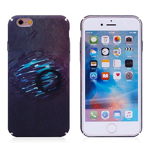 """iProtect Hardcase mit Ring Halter Marmor Design Schutzhülle in Schwarz mit Fingerhalterung für Apple iPhone 6 6s (4,7"""") Reflektion"""