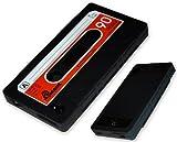 itronik® Retro Audio Kassette Audiokassette Tape Gummi Silikon Silikonhülle Schutzhülle Kassettenhülle für Apple iPhone 4 4S Schwarz Ro