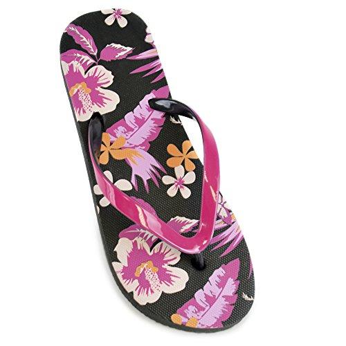 DINZIO Womens/Ladies Floral Print Flip Flops Black 7/8