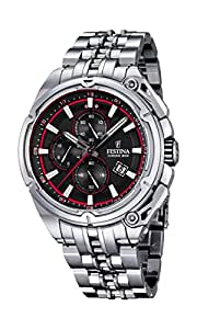 Festina Chrono Bike 2015 F16881/8, orologio al quarzo da uomo con quadrante nero, cronografo e cinturino in acciaio inox in colore argento