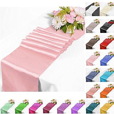 TtS 5 Pièces 30cm x 275cm Satin Chemin de Table Ruban Mariage Réception Banquet Décoration (Rose)