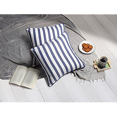 Set de 2 almohadillas de almohada Funda de cojin azul Diseno de rayas de algodon Home sofa decorativo