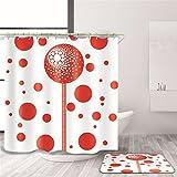 HMHESQ Tende da doccia Tenda da bagno Tenda doccia idraulica impermeabile Palloncino rosso Pannello doccia in poliestere su misura da bagno da bagno impermeabile Bagno schermi Bagno partizioni , 180*220cm