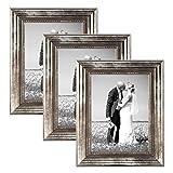 PHOTOLINI 3er Set Bilderrahmen 21x30 cm/DIN A4 Silber Barock Antik Massivholz mit Glasscheibe und Zubehör/Fotorahmen / Barock-Rahmen