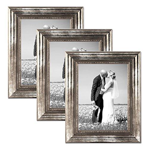 Photolini Juego de 3 marcos 21x30 cm/DIN A4 plata barroca, antiguo, madera maciza con cristal y...