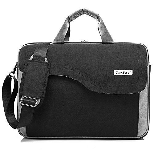 Starke Frau Mac (CoolBELL 15,6 Zoll Laptop Tasche Nylon Schultertasche mehrfach Abteil Messenger Bag Handtasche Tablet Aktentasche für Laptop / Tablet / Macbook,Schwarz)