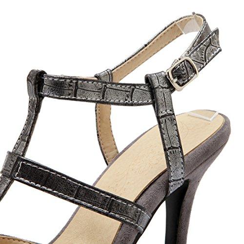 AIYOUMEI Damen T-spangen Slingback Knöchelriemchen Pumps mit 9cm Absatz und Schnalle Stiletto Modern Schuhe Grau