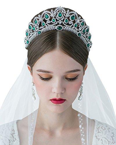 SWEETV Elegante Perlenkante Brautschleier Fingerspitzen-Länge Schleier Hochzeitskleid Zubehör mit...