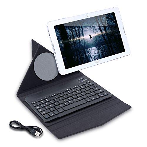 kwmobile Slim Smart Cover Origami mit Bluetooth Tastatur QWERTY für Acer Iconia One 10 B3-A20 mit Ständer - Tablet Schutzhülle in Schwarz