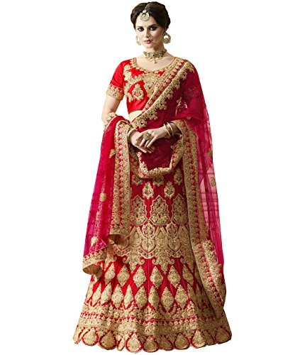 Indian Ethnicwear Bollywood Pakistani Wedding Red A-line Coloured Un-stitched