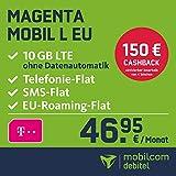 Telekom Magenta Mobil L EU Allnet Flat mit 10 GB LTE Internet Flat max. 300 MBit/s, Telefonie- und SMS-Flat in alle dt. Netze, HotSpot-Flat, EU Flat, 24 Monate Laufzeit, monatlich nur 46,95 € statt 66,95 € + Cashback in Höhe von 150 EUR, Triple-Sim-Karten
