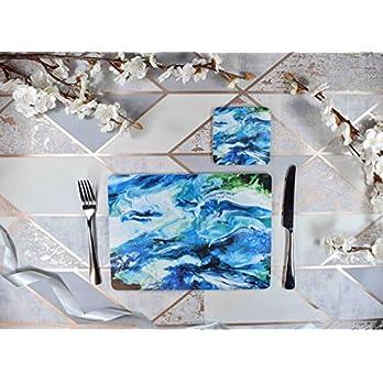 Tischsets Set in Blau, Grün und Weiß