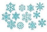 marinamalina Schneeflocke Bügelbild Aufkleber Hotfix Bügelbild Textilaufkleber Glitterfolie Glitzerfolie bunt 12 Stück (445 Sky Blue)