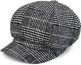 styleBREAKER Bakerboy Schirmmütze mit Glencheck Karo Muster, Ballonmütze, Newsboy Cap, Unisex 04023060, Farbe:Schwarz-Weiß