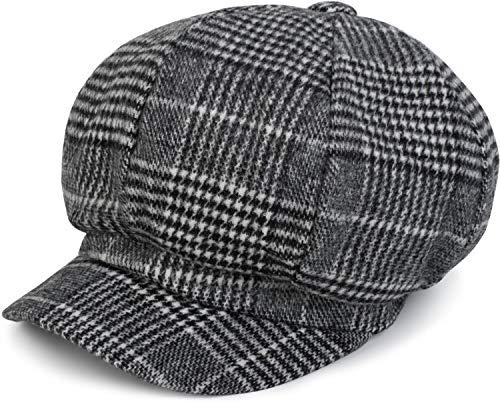 y Schirmmütze mit Glencheck Karo Muster, Ballonmütze, Newsboy Cap, Unisex 04023060, Farbe:Schwarz-Weiß ()