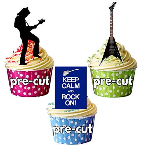 Keep Calm and Rock on, Gitarren und Rock Star Silhouette-essbar Stand-up Cupcake Topper (Pack von 12) (Cake Topper Rockstar)