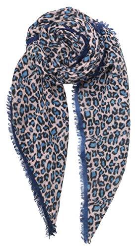 Becksöndergaard Damen Schal Cleo Light Blue Leoparden Muster Kontraststreifen leichtes Tuch 100% Wolle 200x100 cm - 1901666001-547