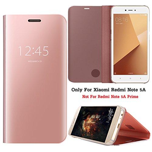 Guran® Mirror Efecto Espejo Funda para Xiaomi Redmi Note 5A Clear View Función de Soporte Plegable Smartphone Funda Protectora (Oro Rosa)