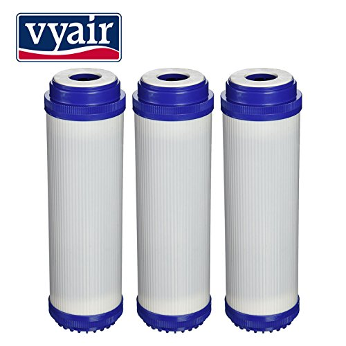 3 x VYAIR 10' GAC-10, C1, NP1, NCP1, NDL2 (Granular Activated Carbon) Water Filter Cartridge for Whole House, Commercial, Industrial, Reverse Osmosis Purification Systems